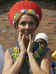 Emotional Celine pledges to bring party fun to South ... Traditional African Fashion Headdress