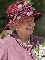 Queen of the Easter bonnets was the silk rose-strewn affair sported by the  royal matriarch. Photo  © Rex 94513af4930